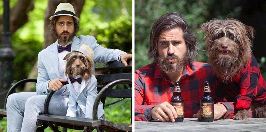 Одинаковый стиль хозяина и собаки